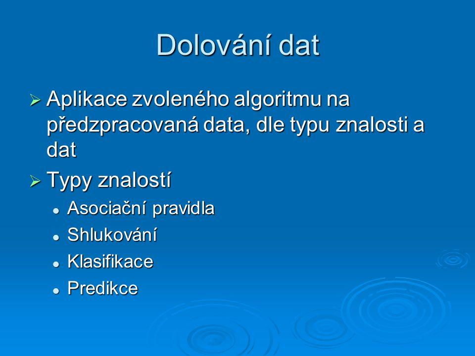 Dolování dat Aplikace zvoleného algoritmu na předzpracovaná data, dle typu znalosti a dat. Typy znalostí.