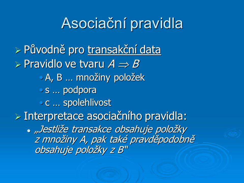 Asociační pravidla Původně pro transakční data Pravidlo ve tvaru A  B