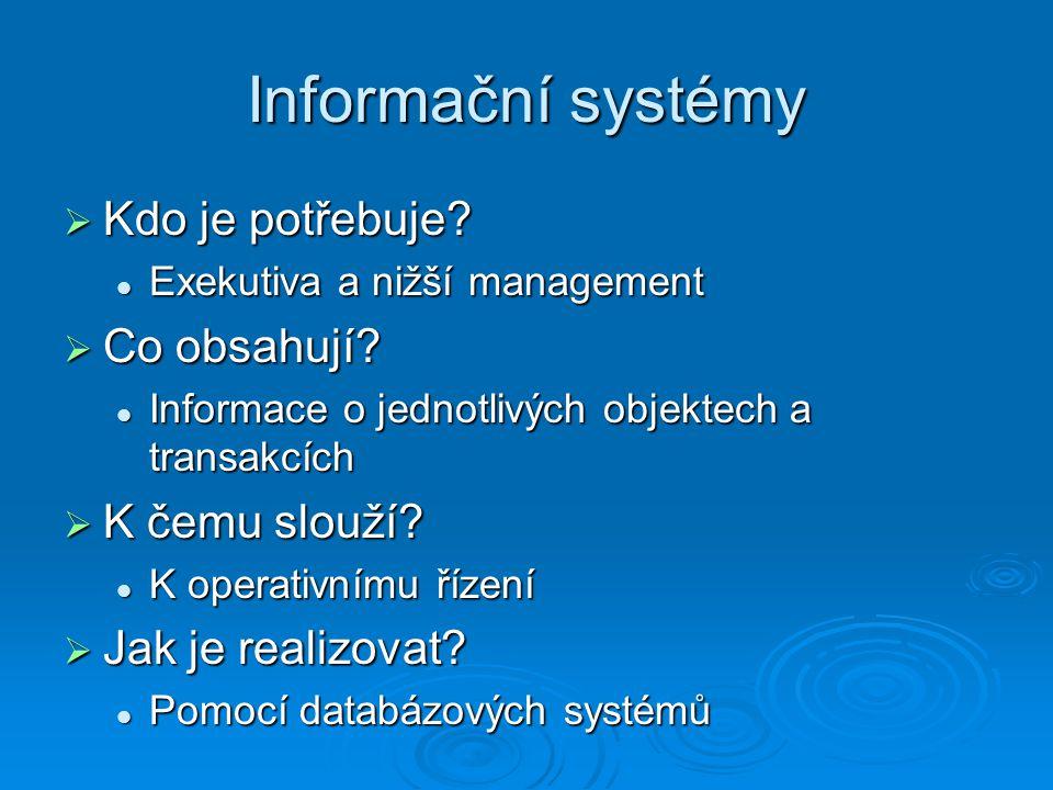 Informační systémy Kdo je potřebuje Co obsahují K čemu slouží