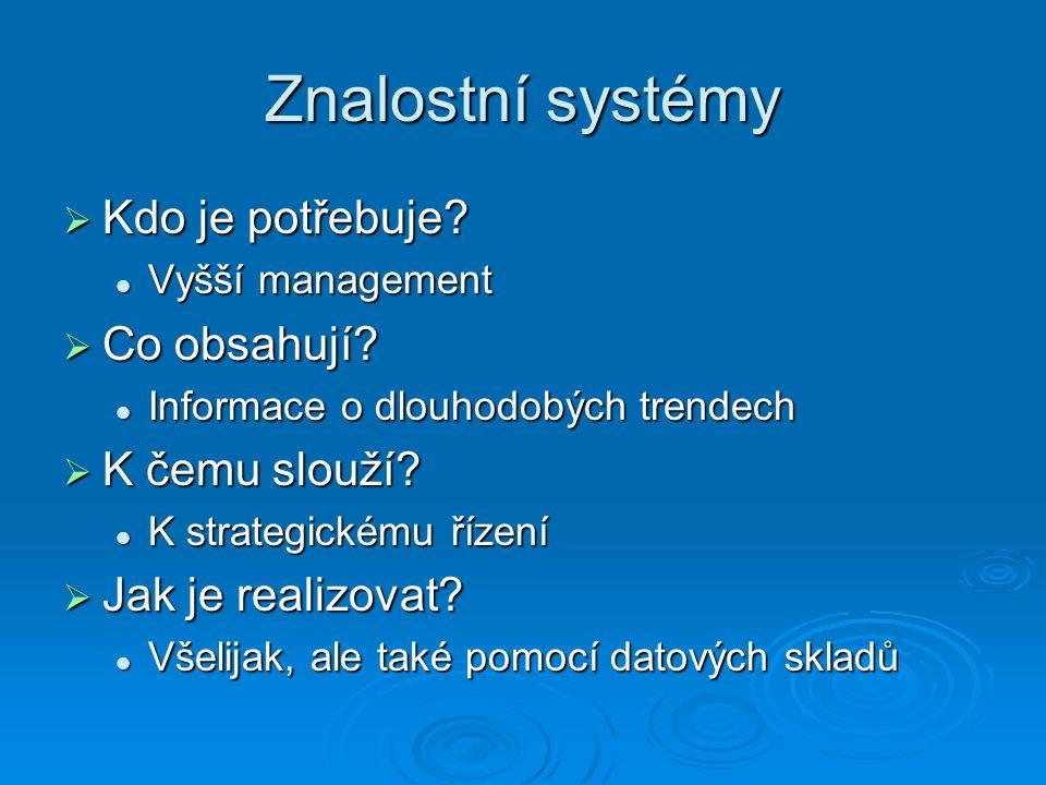 Znalostní systémy Kdo je potřebuje Co obsahují K čemu slouží