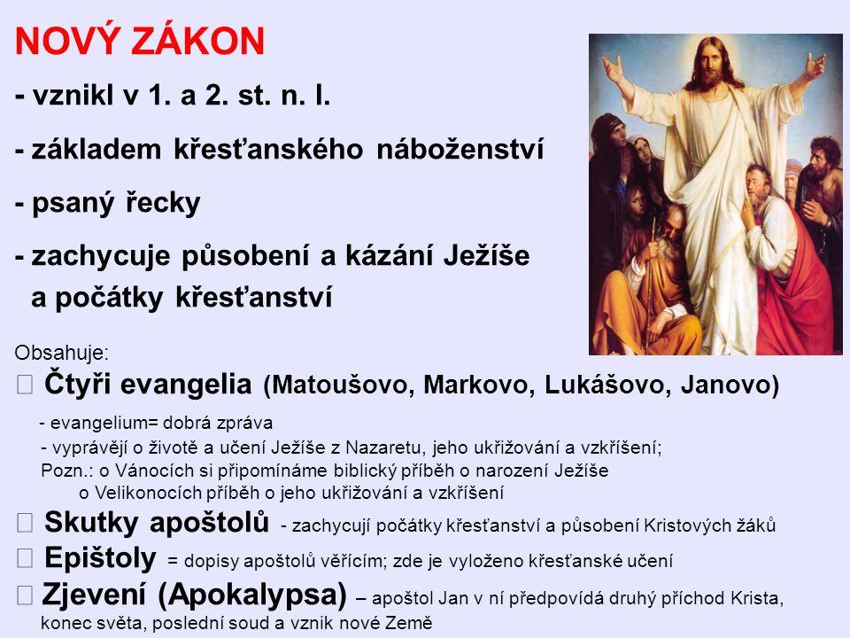 NOVÝ ZÁKON - vznikl v 1. a 2. st. n. l.