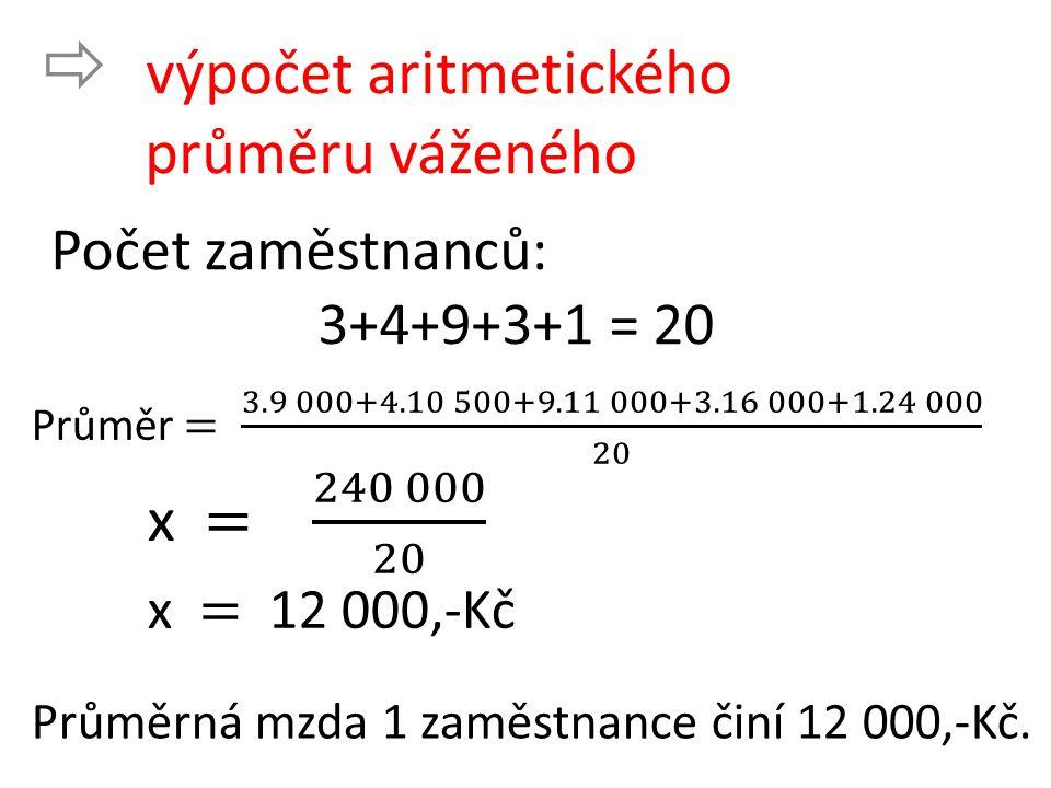  výpočet aritmetického průměru váženého