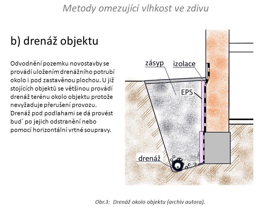 b) drenáž objektu Metody omezující vlhkost ve zdivu