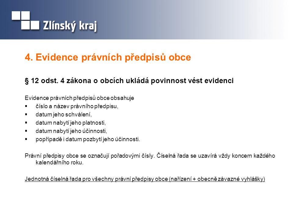 4. Evidence právních předpisů obce