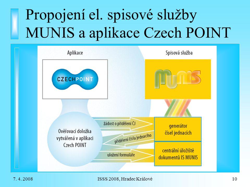 Propojení el. spisové služby MUNIS a aplikace Czech POINT