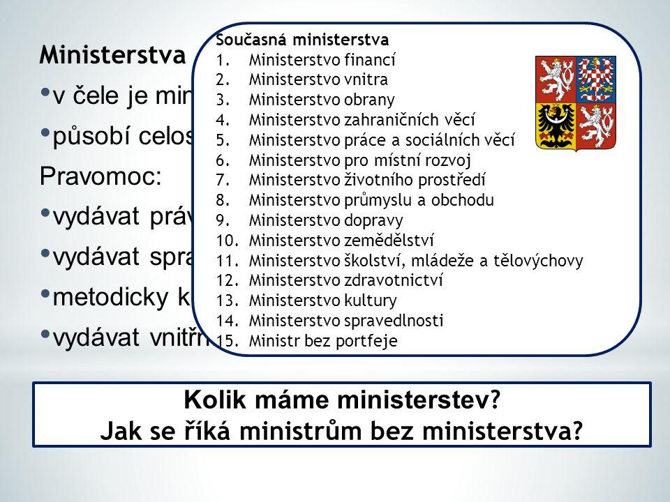 Kolik máme ministerstev Jak se říká ministrům bez ministerstva