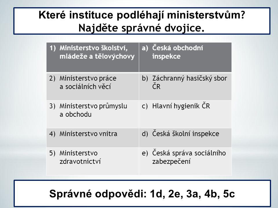 Které instituce podléhají ministerstvům Najděte správné dvojice.
