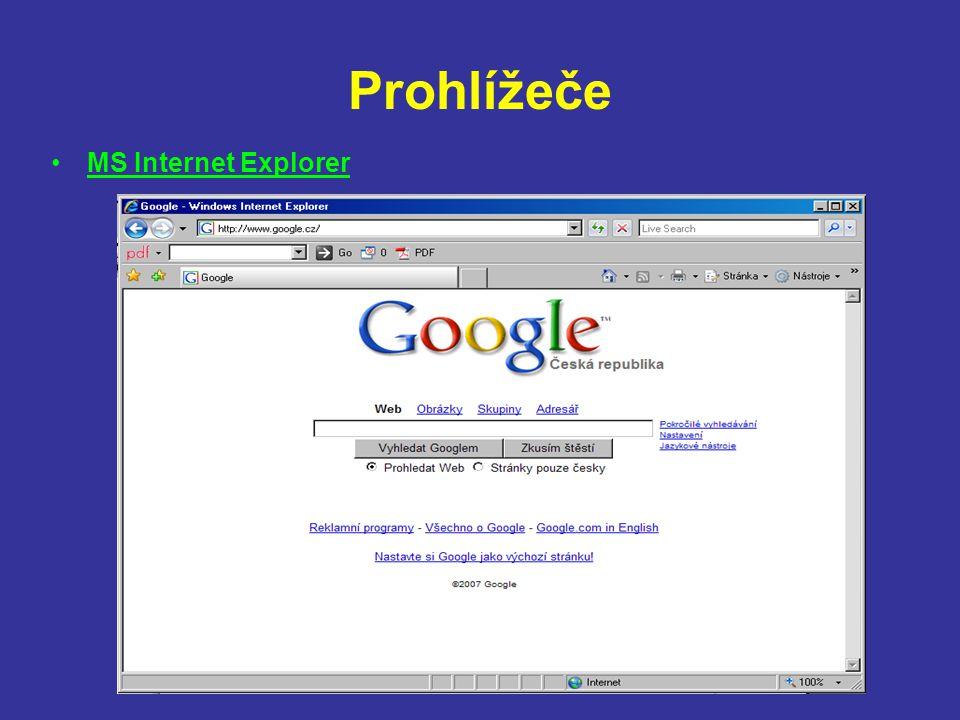 Prohlížeče MS Internet Explorer