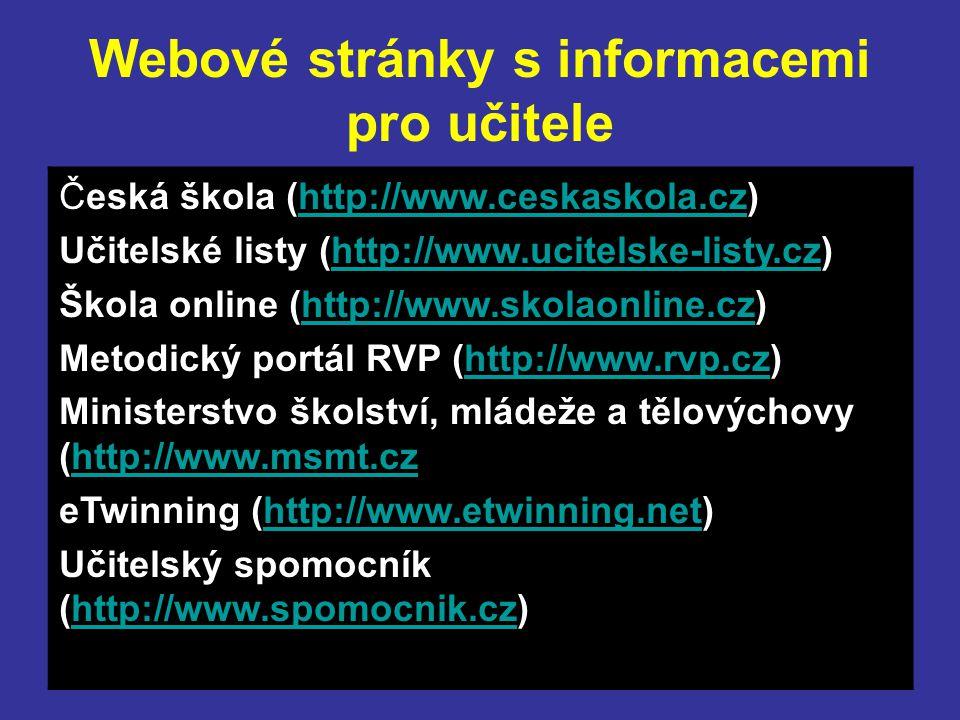 Webové stránky s informacemi pro učitele