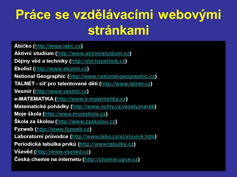 Práce se vzdělávacími webovými stránkami