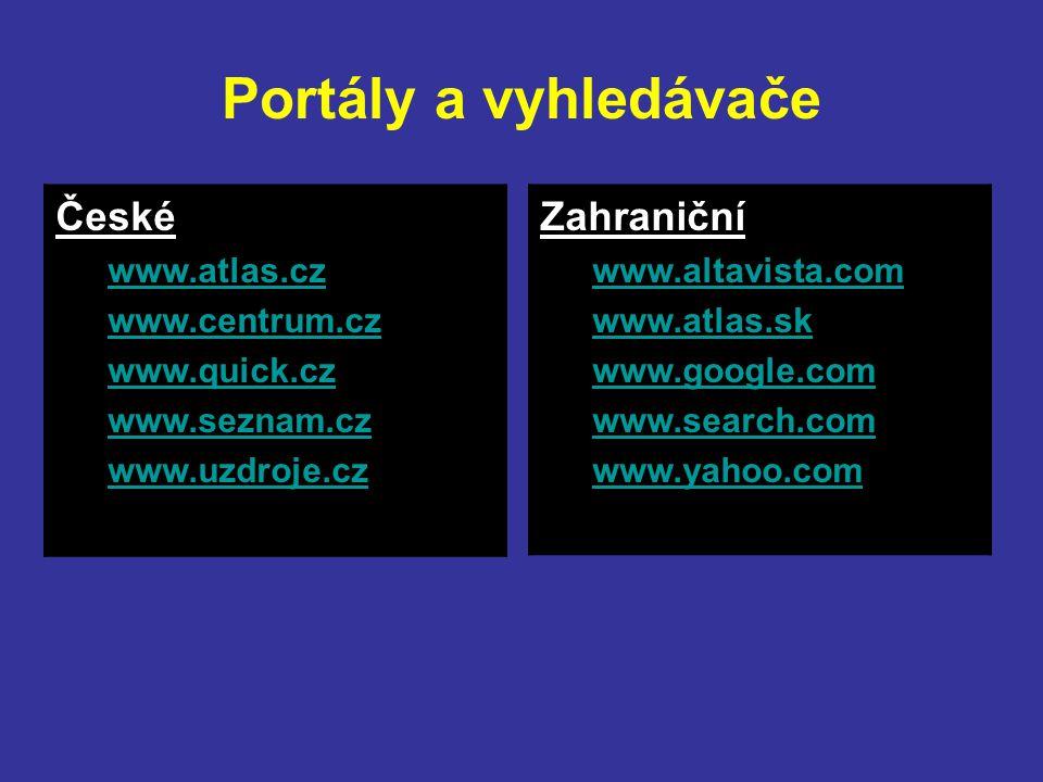 Portály a vyhledávače České Zahraniční www.atlas.cz www.centrum.cz
