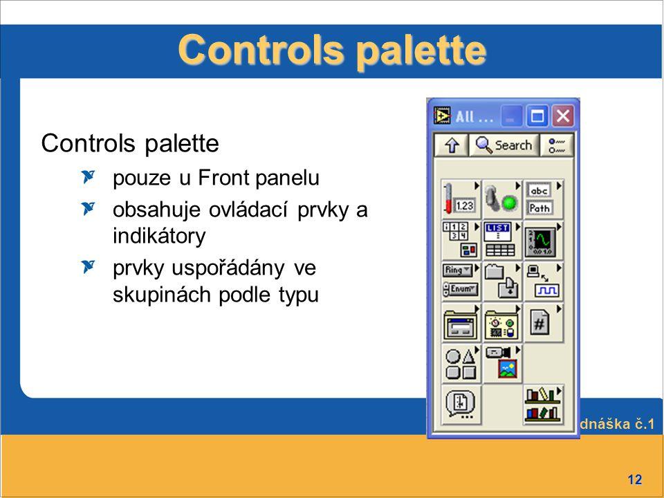 Controls palette Controls palette pouze u Front panelu