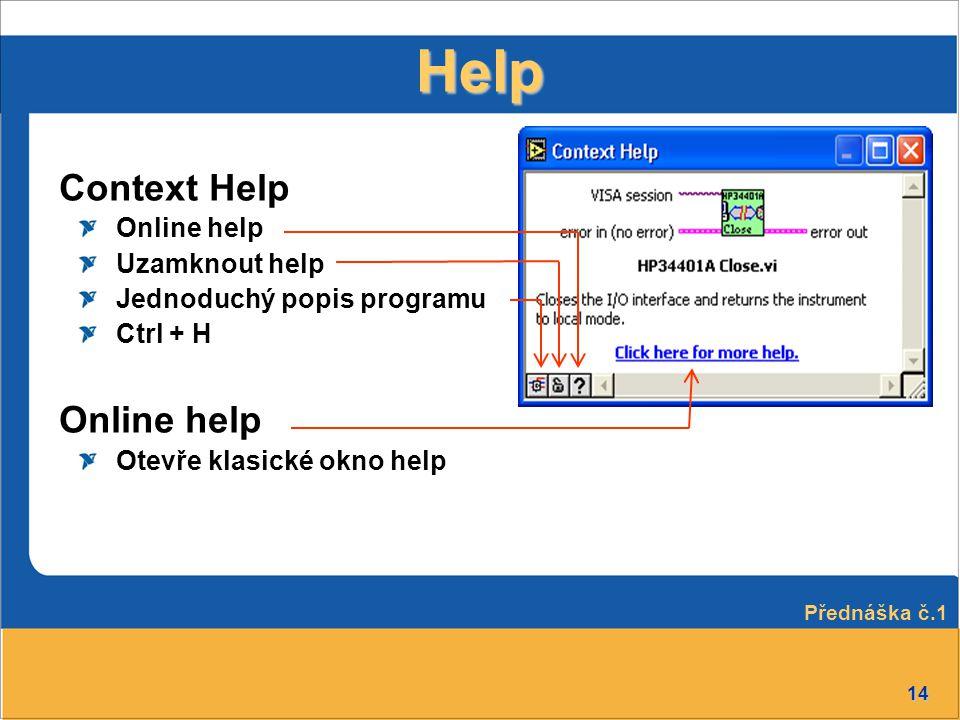 Help Context Help Online help Uzamknout help Jednoduchý popis programu
