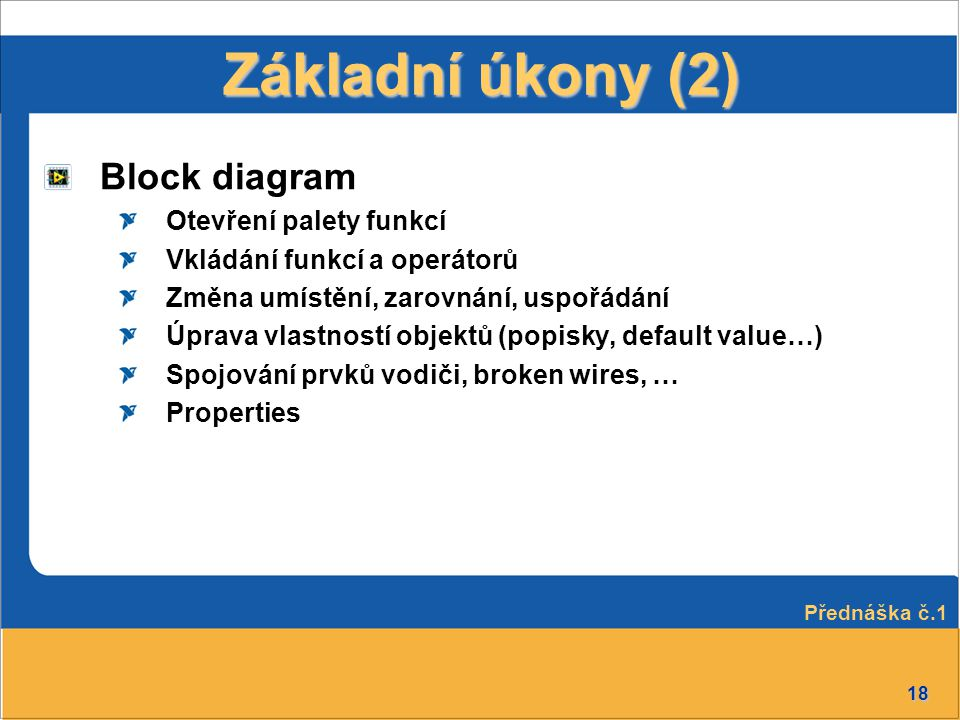 Základní úkony (2) Block diagram Otevření palety funkcí