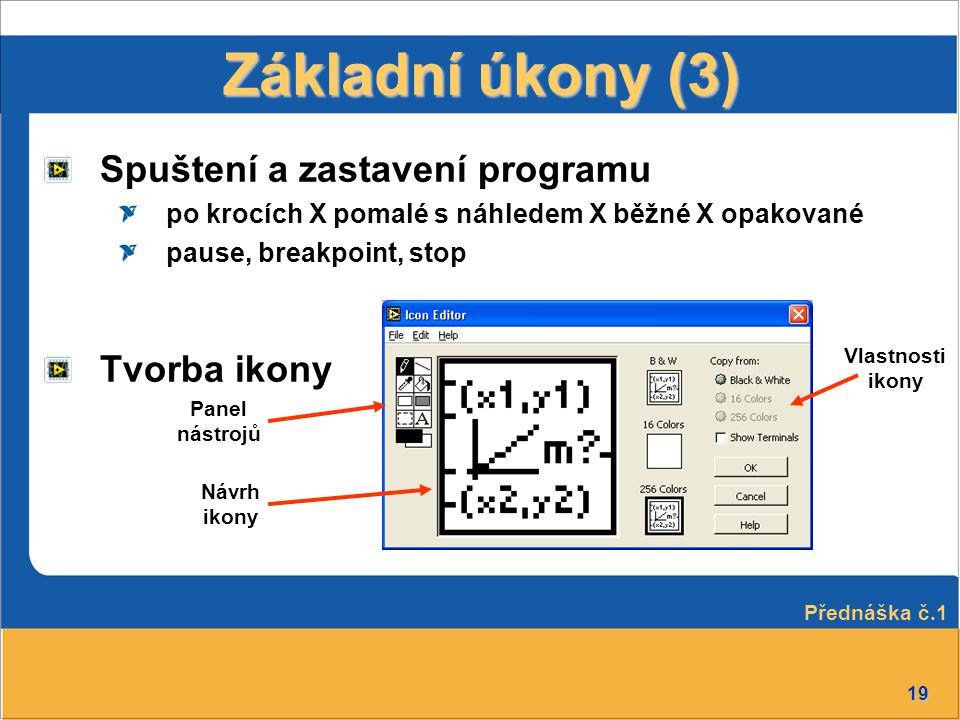 Základní úkony (3) Spuštení a zastavení programu Tvorba ikony
