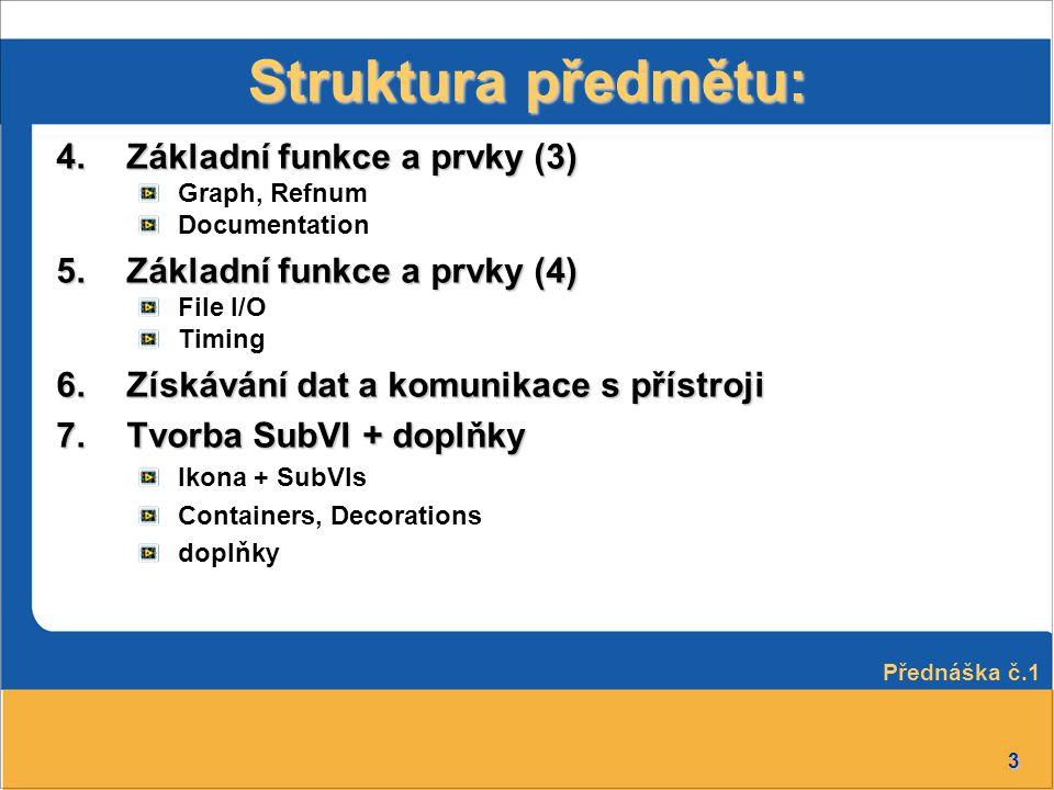 Struktura předmětu: Základní funkce a prvky (3)