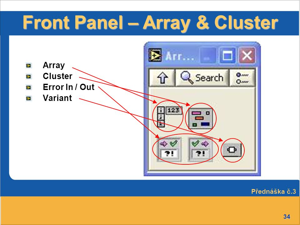Front Panel – Array & Cluster