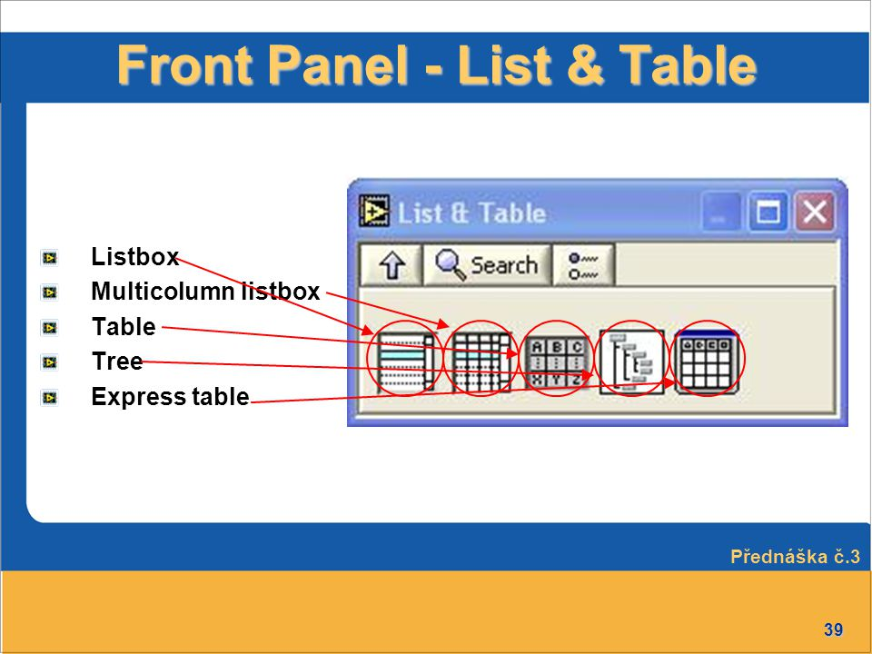 Front Panel - List & Table