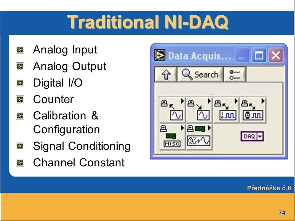 Traditional NI-DAQ Analog Input Analog Output Digital I/O Counter