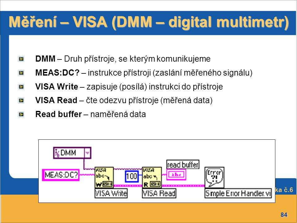 Měření – VISA (DMM – digital multimetr)