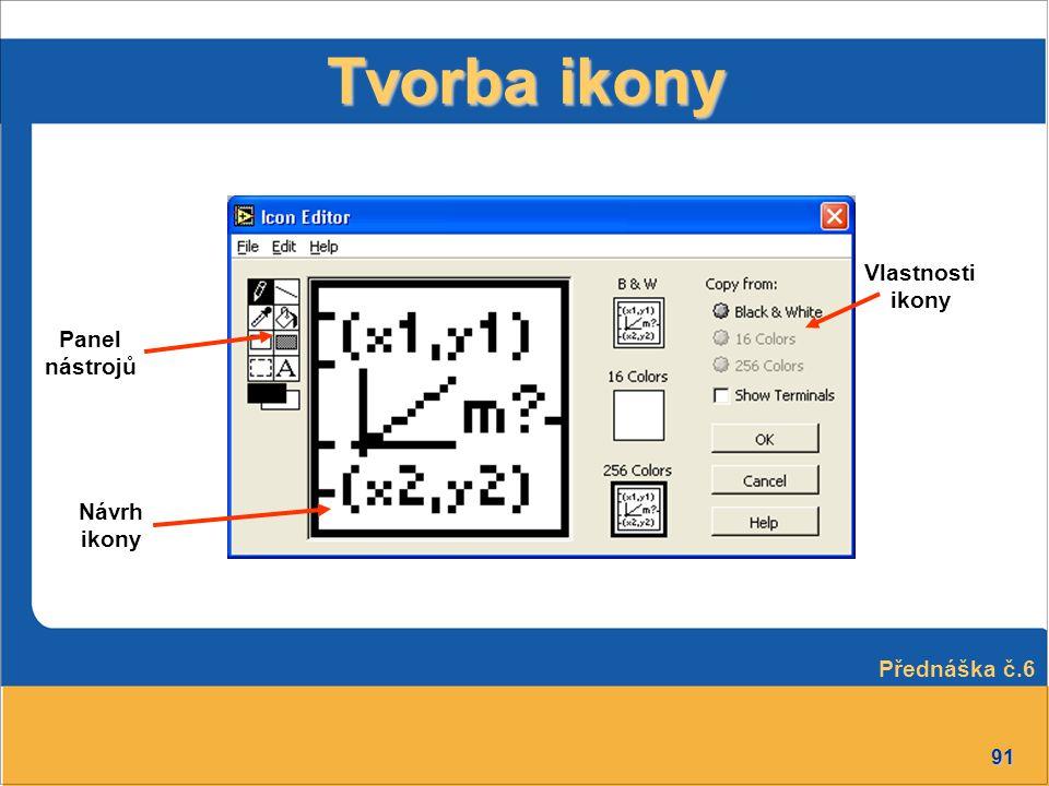 Tvorba ikony Vlastnosti ikony Panel nástrojů Návrh ikony Přednáška č.6