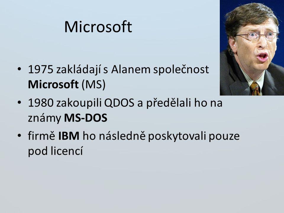 Microsoft 1975 zakládají s Alanem společnost Microsoft (MS)
