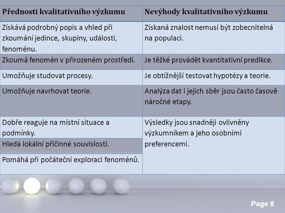 Přednosti kvalitativního výzkumu
