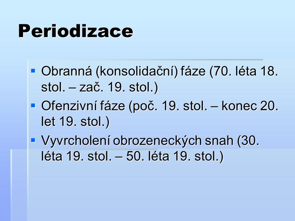 Periodizace Obranná (konsolidační) fáze (70. léta 18. stol. – zač. 19. stol.) Ofenzivní fáze (poč. 19. stol. – konec 20. let 19. stol.)