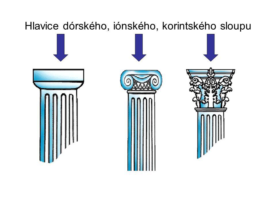Hlavice dórského, iónského, korintského sloupu