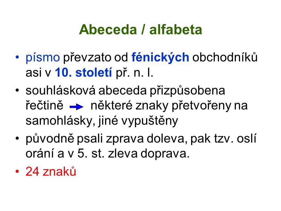 Abeceda / alfabeta písmo převzato od fénických obchodníků asi v 10. století př. n. l.