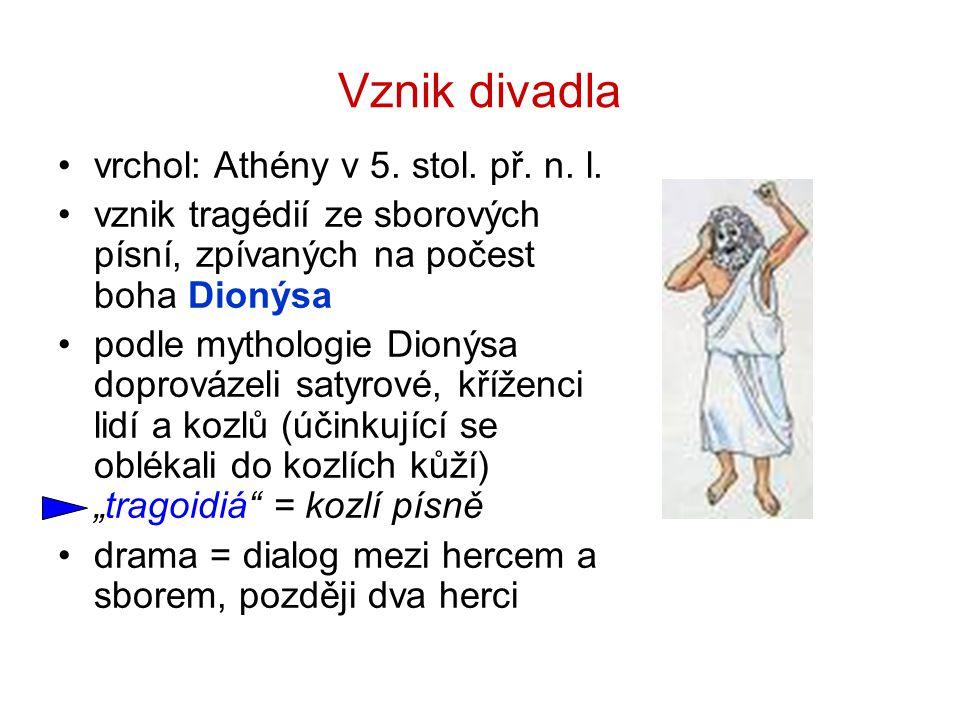 Vznik divadla vrchol: Athény v 5. stol. př. n. l.