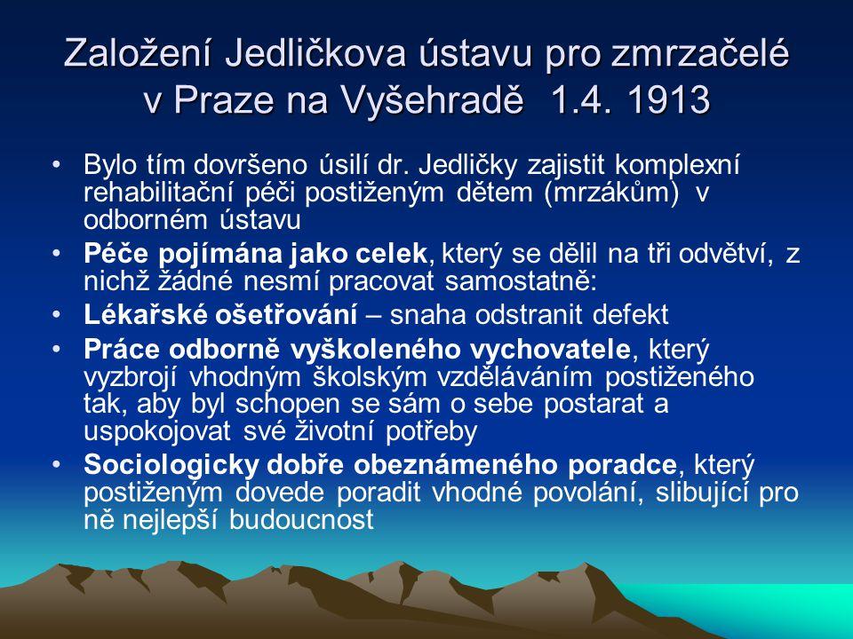 Založení Jedličkova ústavu pro zmrzačelé v Praze na Vyšehradě 1. 4