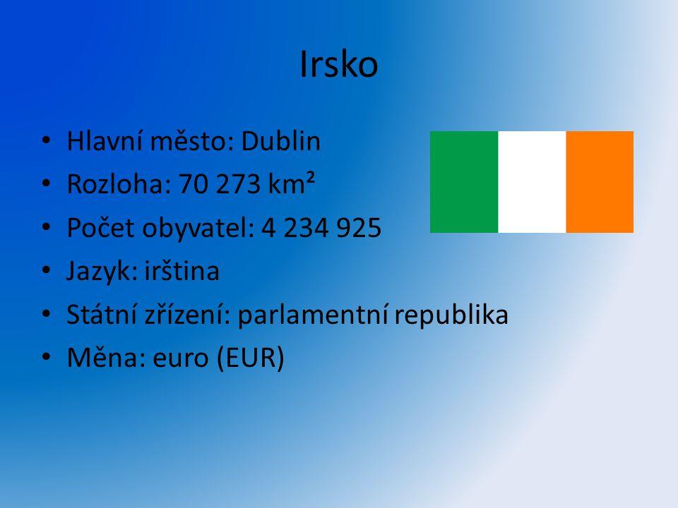 Irsko Hlavní město: Dublin Rozloha: 70 273 km²