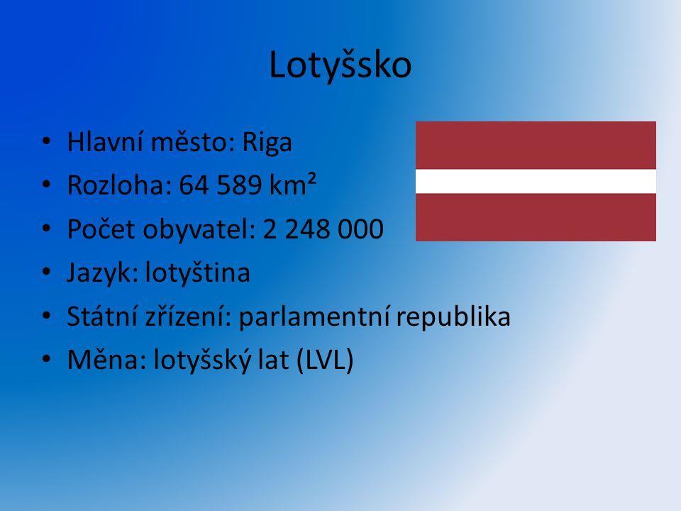 Lotyšsko Hlavní město: Riga Rozloha: 64 589 km²