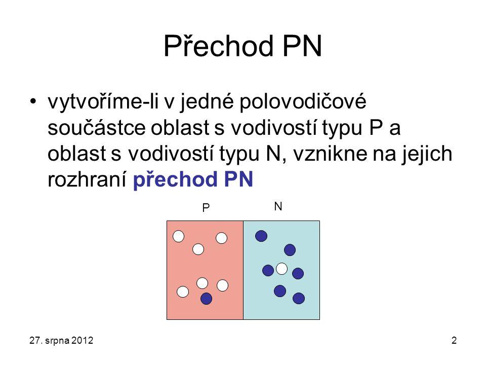 Přechod PN vytvoříme-li v jedné polovodičové součástce oblast s vodivostí typu P a oblast s vodivostí typu N, vznikne na jejich rozhraní přechod PN.