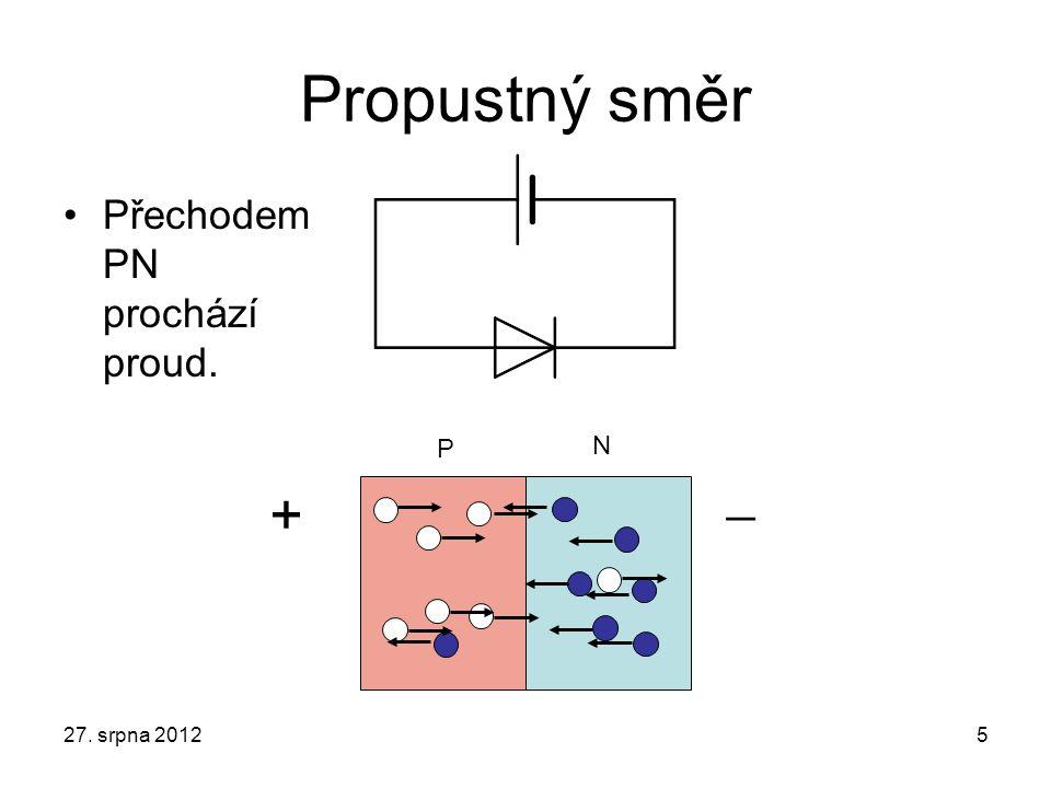 Propustný směr Přechodem PN prochází proud. P N +  27. srpna 2012