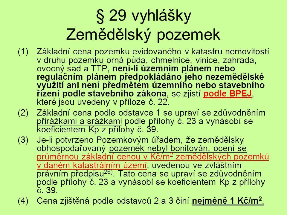 § 29 vyhlášky Zemědělský pozemek