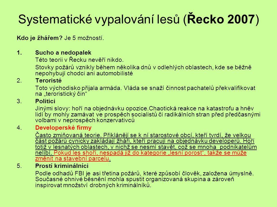 Systematické vypalování lesů (Řecko 2007)