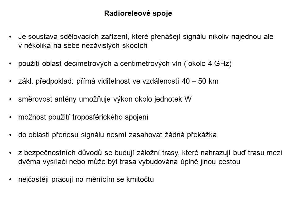 Radioreleové spoje Je soustava sdělovacích zařízení, které přenášejí signálu nikoliv najednou ale v několika na sebe nezávislých skocích.