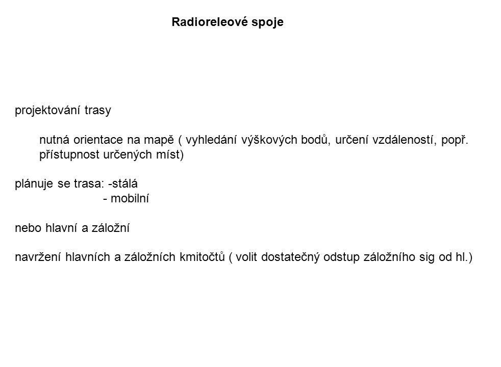 Radioreleové spoje projektování trasy. nutná orientace na mapě ( vyhledání výškových bodů, určení vzdáleností, popř. přístupnost určených míst)