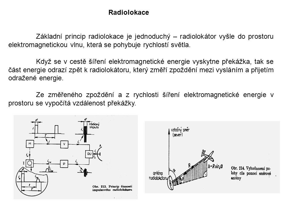 Radiolokace Základní princip radiolokace je jednoduchý – radiolokátor vyšle do prostoru elektromagnetickou vlnu, která se pohybuje rychlostí světla.