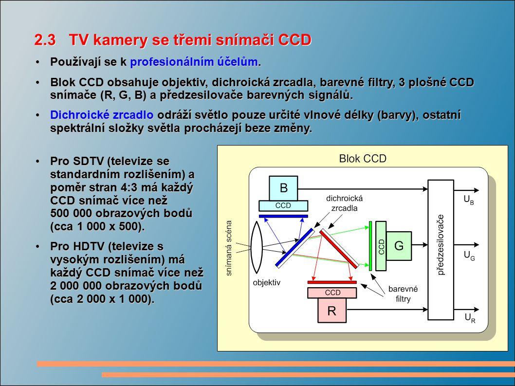 2.3 TV kamery se třemi snímači CCD