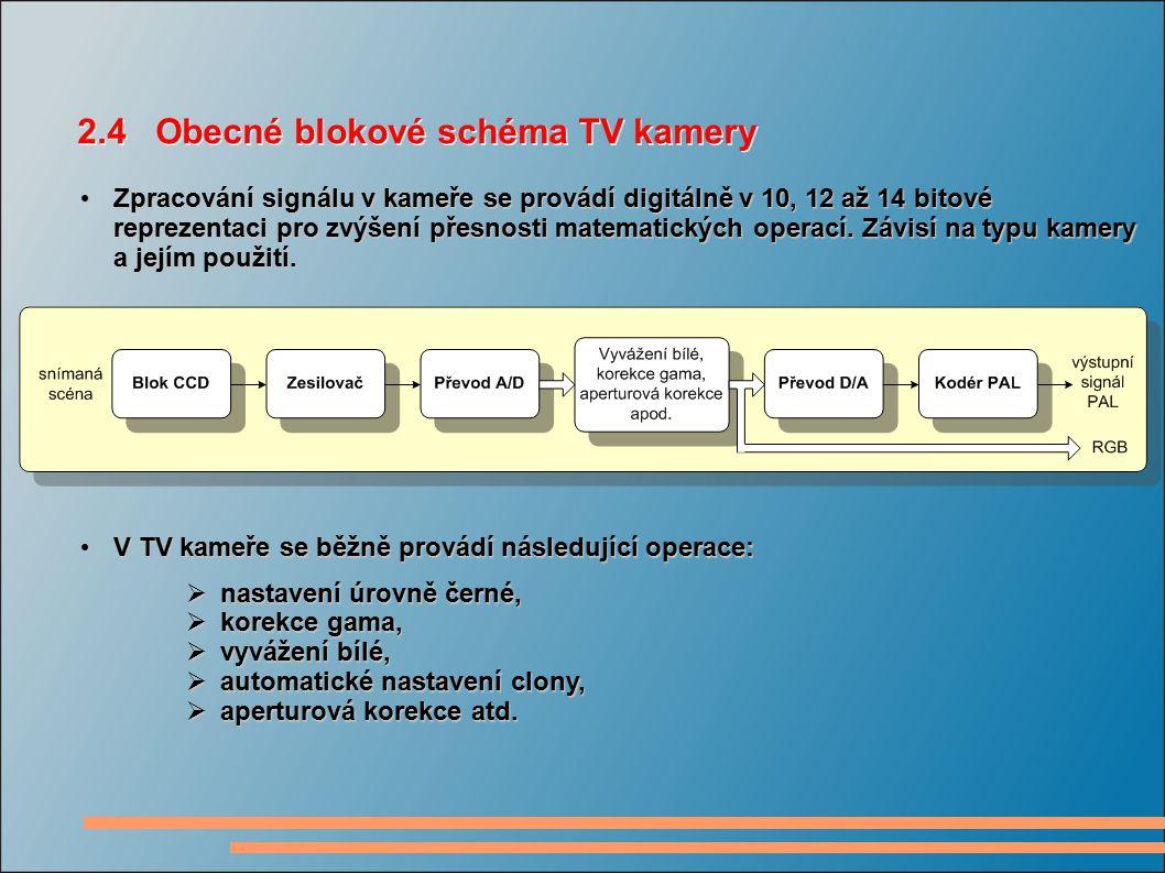 2.4 Obecné blokové schéma TV kamery