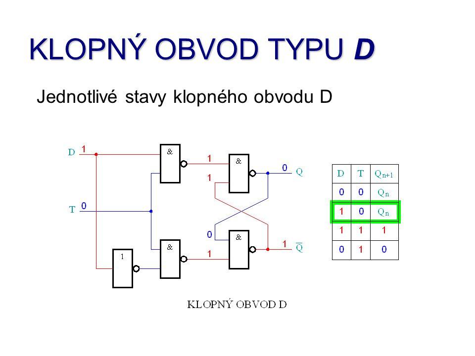 KLOPNÝ OBVOD TYPU D Jednotlivé stavy klopného obvodu D