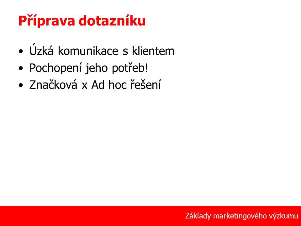 Příprava dotazníku Úzká komunikace s klientem Pochopení jeho potřeb!
