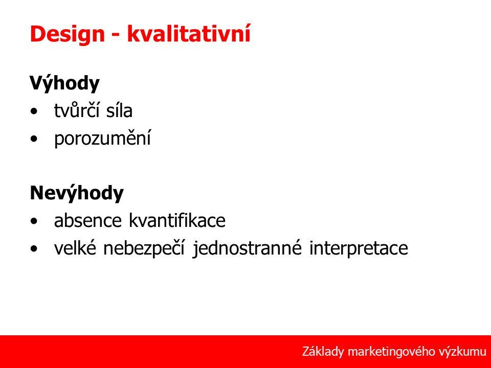 Design - kvalitativní Výhody tvůrčí síla porozumění Nevýhody