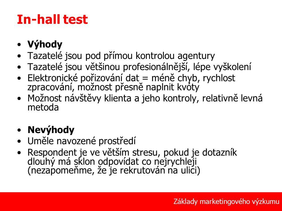 In-hall test Výhody Tazatelé jsou pod přímou kontrolou agentury