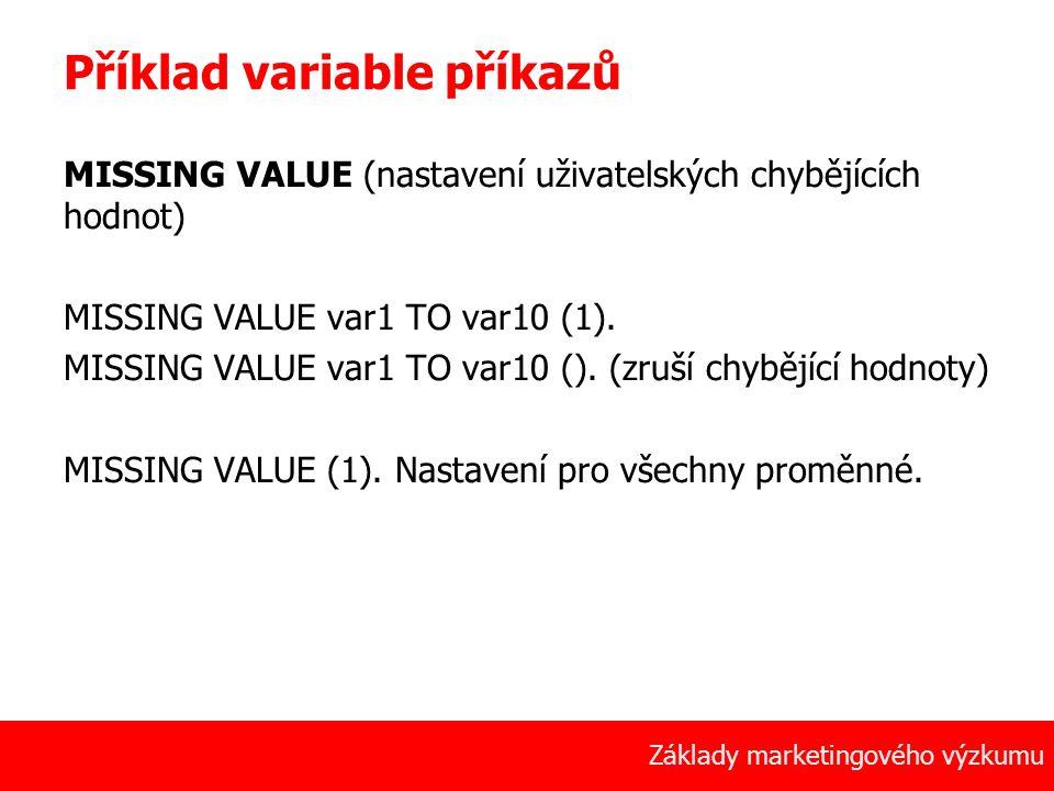 Příklad variable příkazů