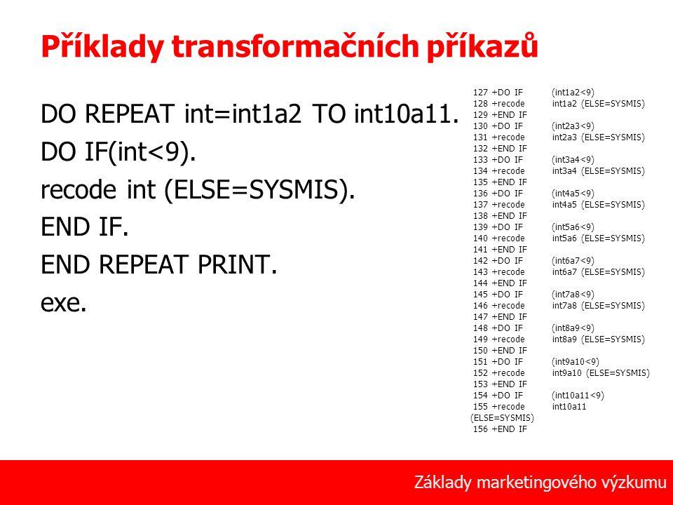 Příklady transformačních příkazů