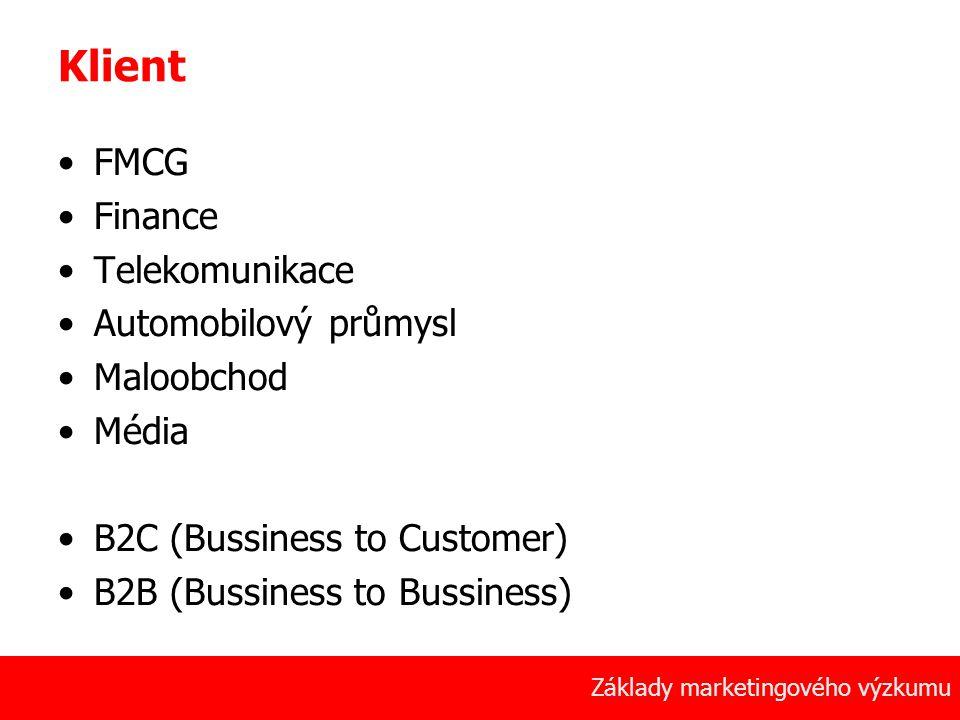 Klient FMCG Finance Telekomunikace Automobilový průmysl Maloobchod